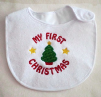 Embroidered My first christmas tree baby bib